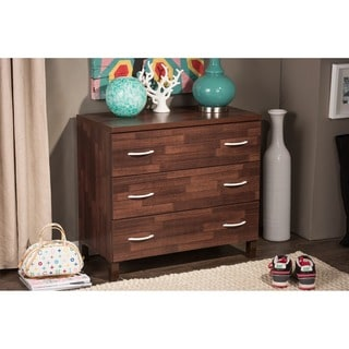 Baxton Studio Maison Modern and Contemporary Oak Brown Finish Wood 3-Drawer Storage Chest