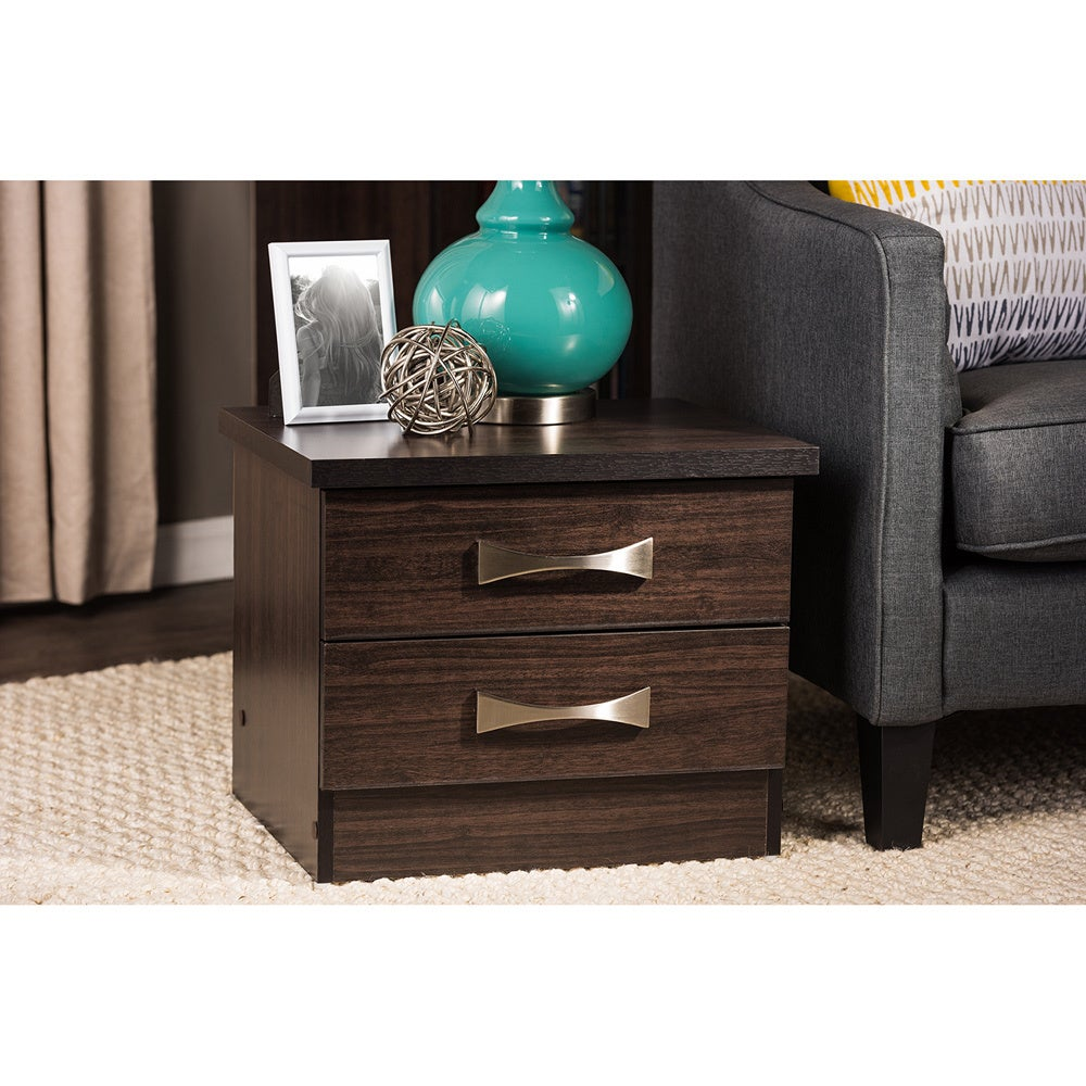 new styles 33673 d4e76 Colburn Modern and Contemporary 2-Drawer Dark Brown Finish Wood Storage  Nightstand Bedside Table