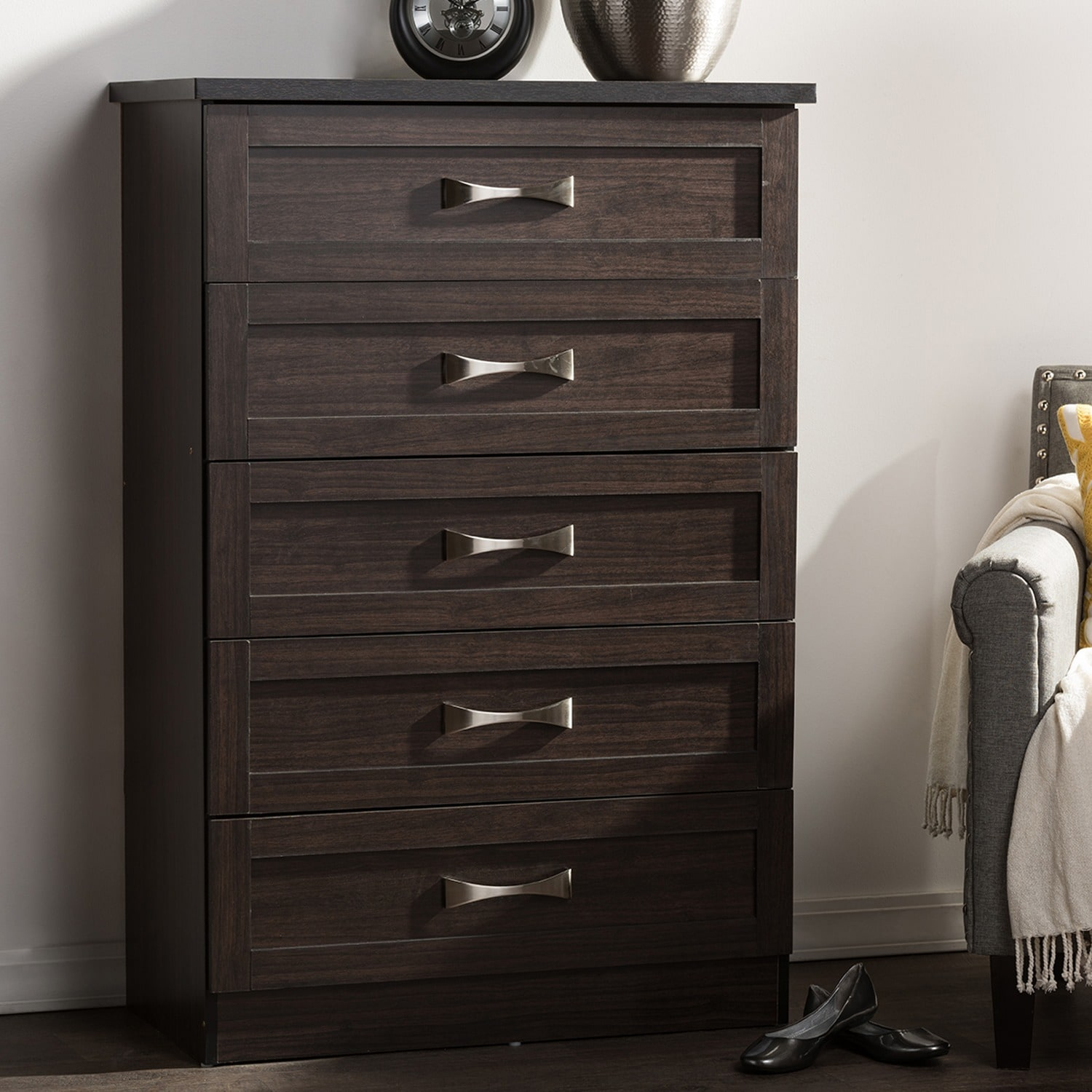Clay Alder Home Brownville Modern and Contemporary 5-drawer Dark Brown Finish Wood Tallboy Storage & Shop Clay Alder Home Brownville Modern and Contemporary 5-drawer ...