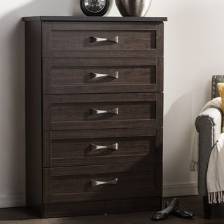 Baxton Studio Colburn Modern and Contemporary 5-Drawer Dark Brown Finish Wood Tallboy Storage Chest