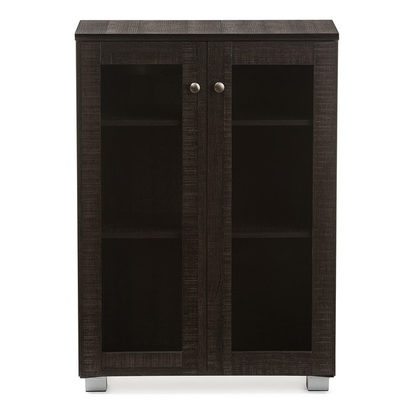 Baxton Studio Mason Modern and Contemporary Dark Brown Multipurpose Storage Cabinet  Sideboard with Two Class Doors - Free Shipping Today - Overstock.com - ... - Baxton Studio Mason Modern And Contemporary Dark Brown
