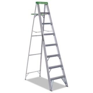 Louisville #428 Eight-Foot Green Folding Aluminum Step Ladder