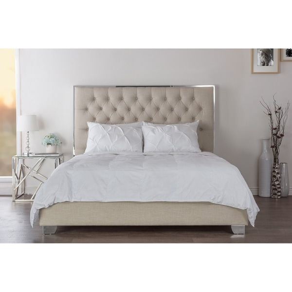 Baxton Studio Bracco Contemporary Beige Fabric Upholstered and Tufted Platform Bed with ...