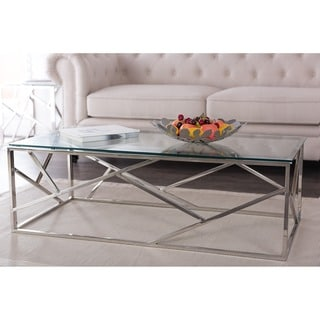 Baxton Studio Bowman Contemporary Tempered Clear Glass Coffee Table with Sturdy Stainless Frame