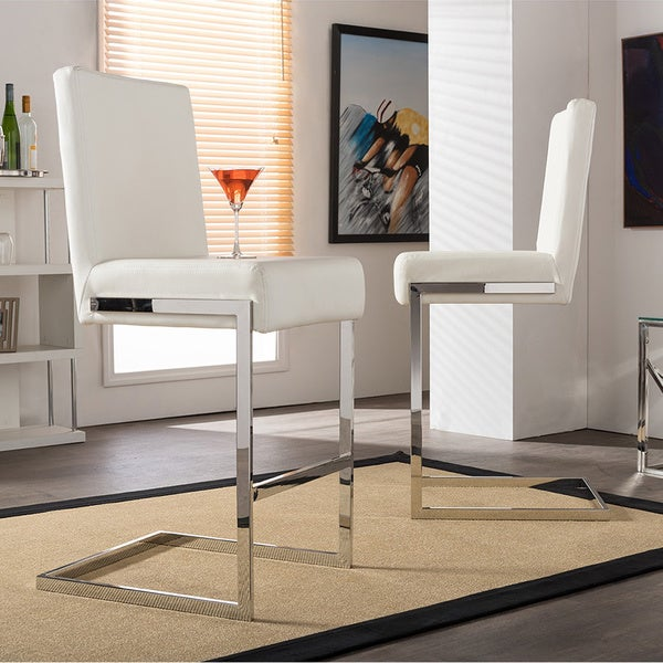 Shop Modern White Faux Leather 21 Quot Counter Stool By Baxton