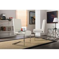 Set of 2 Greer Contemporary White PU Leather Upholstered Armless Dining Chairs With Stainless Steel Base