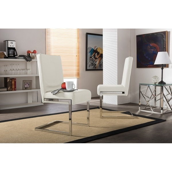 Shop Set Of 2 Greer Contemporary White Pu Leather Upholstered