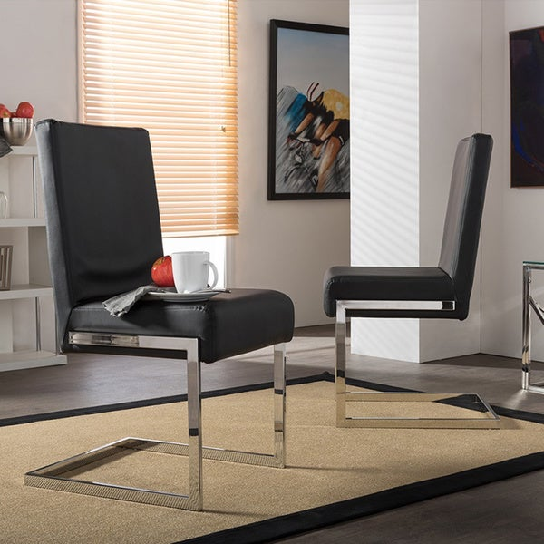 set of 2 greer contemporary black pu leather upholstered armless