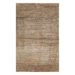 Herat Oriental Afghan Hand-knotted Tribal Vegetable Dye Gabbeh Beige/ Tan Wool Rug (4' x 6')
