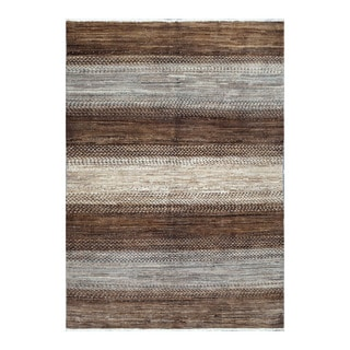 Herat Oriental Afghan Hand-knotted Tribal Vegetable Dye Gabbeh Brown/ Gray Wool Rug (4' x 5'9)