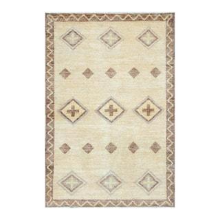 Herat Oriental Afghan Hand-knotted Tribal Vegetable Dye Gabbeh Yellow/ Brown Wool Rug (3'10 x 5'10)
