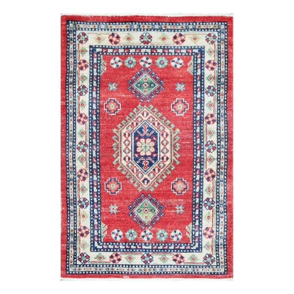 Herat Oriental Afghan Hand-knotted Tribal Vegetable Dye Kazak Wool Rug (2'7 x 3'11)