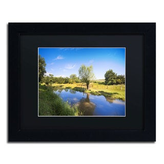 Philippe Sainte-Laudy 'Blue Brook' Black Framed Canvas Wall Art