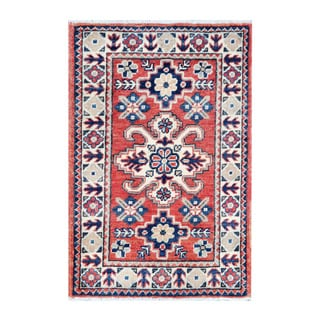 Herat Oriental Afghan Hand-knotted Tribal Vegetable Dye Kazak Wool Rug (1'10 x 2'10)