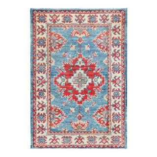 Herat Oriental Afghan Hand-knotted Tribal Vegetable Dye Kazak Light Blue/ Ivory Wool Rug (1'11 x 2'1