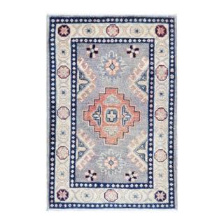 Herat Oriental Afghan Hand-knotted Tribal Vegetable Dye Kazak Gray/ Ivory Wool Rug (2' x 3'1)