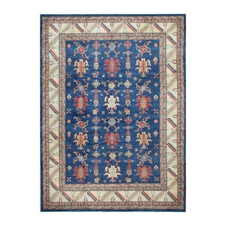Herat Oriental Afghan Hand-knotted Tribal Vegetable Dye Kazak Blue/ Ivory Wool Rug (8'10 x 12'3)
