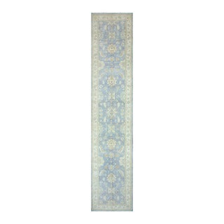 Herat Oriental Afghan Hand-knotted Tribal Vegetable Dye Oushak Light Blue/ Ivory Wool Rug (4' x 19'1