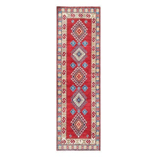 Herat Oriental Afghan Hand-knotted Tribal Vegetable Dye Kazak Wool Runner (2'6 x 8'9)