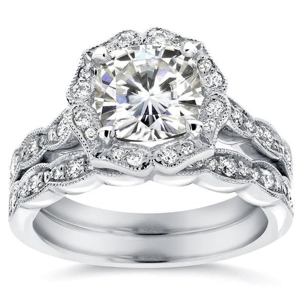 Annello by Kobelli 14k White Gold 2 1/6ct TGW Cushion-cut Moissanite (HI) and Diamond Floral Vintage Bridal Ring Set