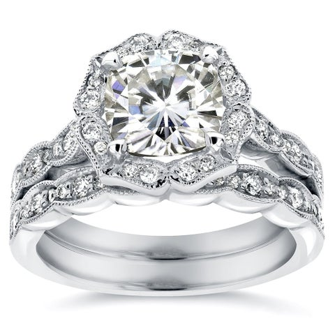 Annello by Kobelli 14k White Gold 2 1/6ct TGW Cushion-cut Moissanite and Diamond Floral Vintage Bridal Ring Set