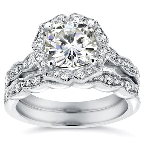 792ac4e16 ... Bridal Ring Set. Details · Annello by Kobelli 14k White Gold 2 1/6ct  TGW Cushion-cut Moissanite and