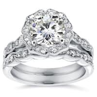Annello by Kobelli 14k White Gold 2 1/6ct TGW Cushion-cut Moissanite and Diamond Floral Vintage Bridal Ring Set