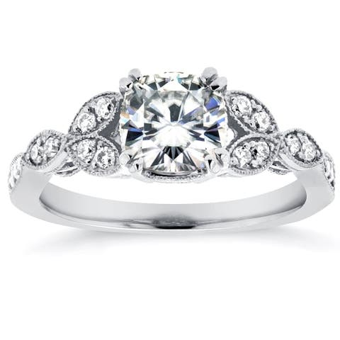 Annello by Kobelli 14k White Gold 1 1/3ct TGW Cushion-cut Moissanite and Diamond Vintage Floral Engagement Ring