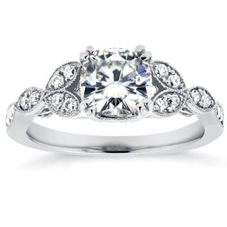 Annello by Kobelli 14k White Gold Cushion-cut Moissanite and 1/5 ct TDW Diamond Floral Vintage Engag