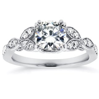 Annello by Kobelli 14k White Gold 1 1/3ct TGW Cushion-cut Moissanite (HI) and Diamond Vintage Floral Engagement Ring (More options available)