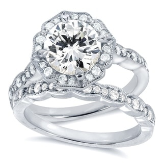 Annello by Kobelli 14k White Gold Round-cut Moissanite and 2/5ct TDW Diamond Floral Antique Bridal R
