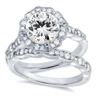 Annello by Kobelli 14k White Gold 1 7/8ct TGW Round-cut Moissanite (HI) and Diamond Floral Antique Bridal Rings Set
