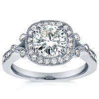 Annello by Kobelli 14k White Gold 1 2/5ct TGW Round-cut Moissanite (HI) and Diamond Square Halo Unique Engagement Ring