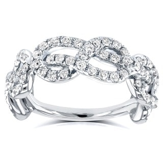 Annello by Kobelli 14k White Gold 5/8ct TDW Womens Infinity Knot Diamond Ring (G-H, I1-I2