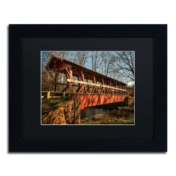 Lois Bryan 'The Colvin Covered Bridge' Black Framed Canvas Wall Art