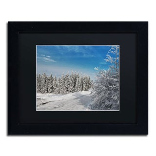 Lois Bryan 'Snowy Country Lane' Black Framed Canvas Wall Art