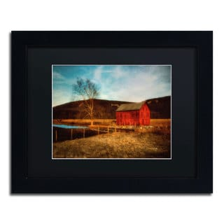 Lois Bryan 'Red Barn at Twilight' Black Framed Canvas Wall Art