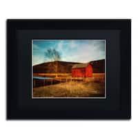 Lois Bryan 'Red Barn at Twilight' Black Framed Canvas Wall Art