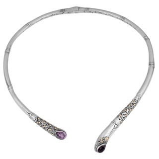 Handmade Sterling Silver, 18K Gold, Amethyst Bamboo Cawi Necklace (Indonesia)