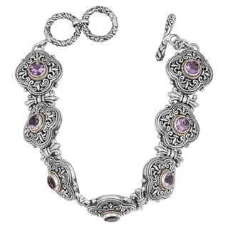 Sterling Silver, 18K Gold, Amethyst Floral Cawi Toggle Bracelet (Indonesia)