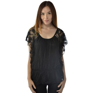 Leisureland Women's Black Lace Top
