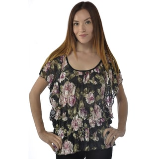 Leisureland Women's Lace Top Flutter Sleeve Rose Print Blouse