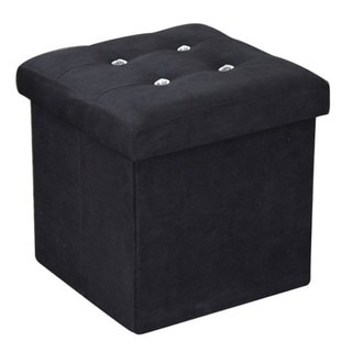 Home Basics Storage Ottoman with Stones