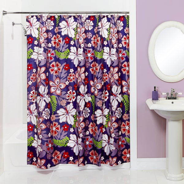 Bath Bliss Wild Orchid Shower Curtain and Hooks Set
