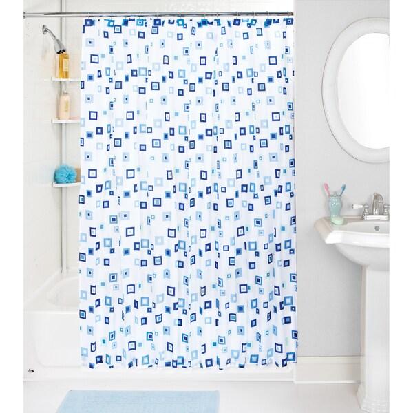 Bath Bliss Geo Shower Curtain and Hooks Set
