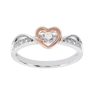 H Star Rose-plated Sterling Silver Diamond Accent Heart Ring
