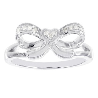 H Star Sterling Silver Diamond Accent Bow and Heart Ring