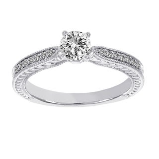 H Star 18k White Gold 5/8ct TDW Diamond Vintage Solitaire Engagement Ring (H-I, I1-I2)