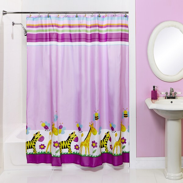 Bath Bliss Giraffe and Zebra Shower Curtain and Hooks Set
