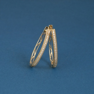 De Couer 10k Yellow Gold 1/6ct TDW Diamond Hoop Earring
